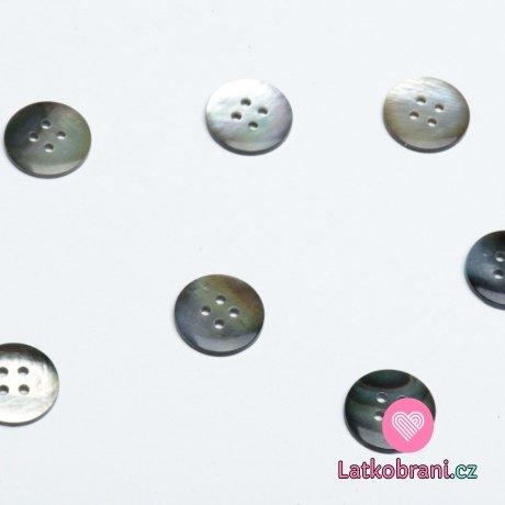 Knoflík kulatý, čtyřdírkový perleťový 15mm
