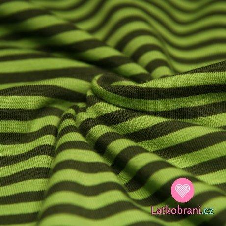 Úplet proužky zelené se zelenou (střední)