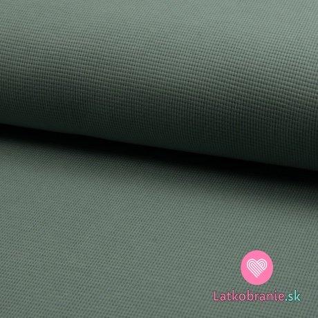 Bavlněný vaflový úplet jednobarevný zaprášený mint