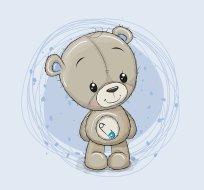 Panel medvídě chlapec na modré