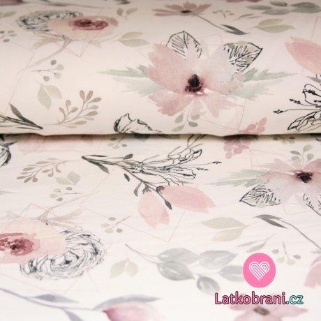 Teplákovina větvičky s květy magnolie růžové na smetanové