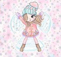 Panel Andělka s křídly v růžovém na růžové