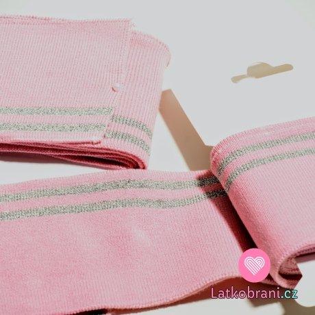 Náplet kusový dva stříbrné proužky na světle růžové 135 cm