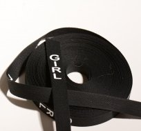 Stuna na oblečení s nápisem GIRL černá