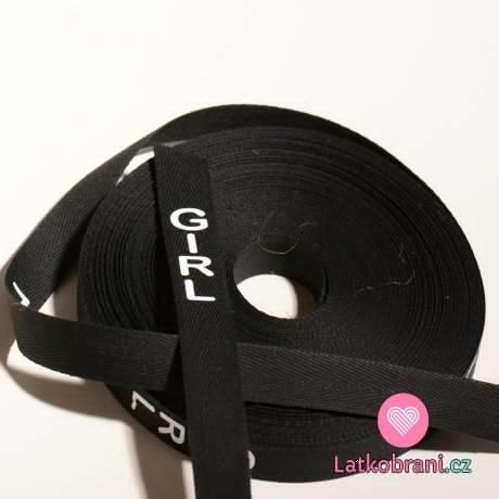 Stuha na oblečení s nápisem GIRL černá