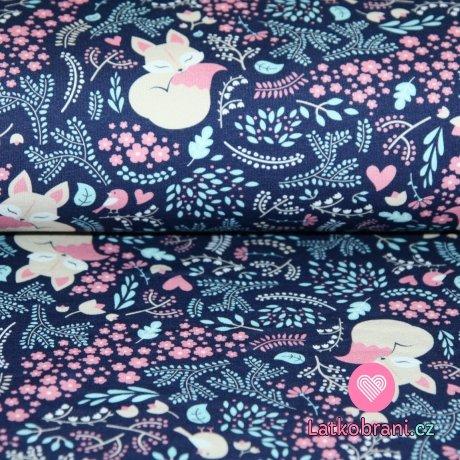 Softshell potisk lištička s kvítky na modrofialové