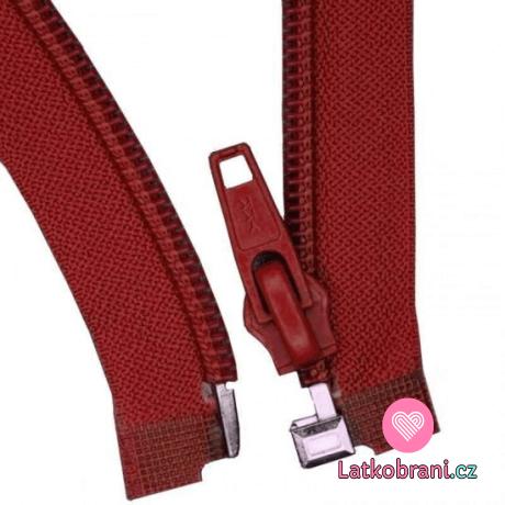 Zip spirálový dělitelný bordó 45 cm