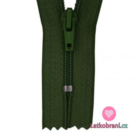 Zip spirálový nedělitelný tmavě zelený 12 cm