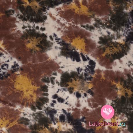 Úplet potisk batika okrovo - hnědá