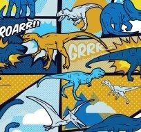 Úplet dinosaurus na způsob kresleného komiksu žluto-modrý