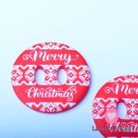 "Knoflík kulatý, červený s nápisem ""Merry Christmas"""
