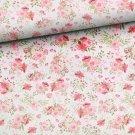 Teplákovina potisk romantické květy na bílé