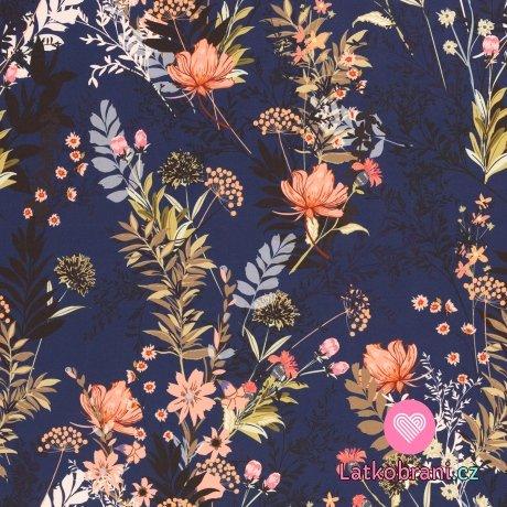 Softshell potisk květiny na tmavě modré