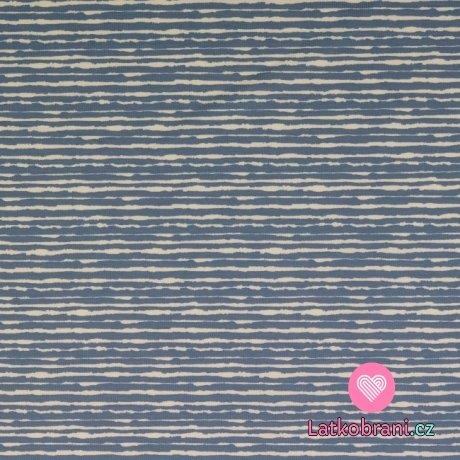 Úplet potisk nepravidelný modrý proužek na bílé