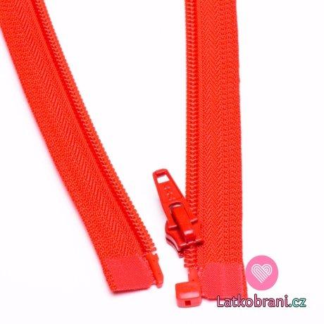 Zip spirálový dělitelný červený 45cm