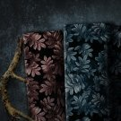 Viskóza potisk šedo-modré listy na černé