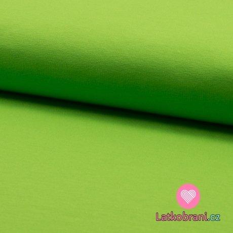 Jednobarevná teplákovina svěží zelená