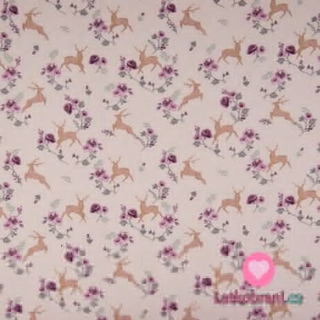 Bavlněný popelín jelen ve skoku mezi růžičkami na zaprášené růžové