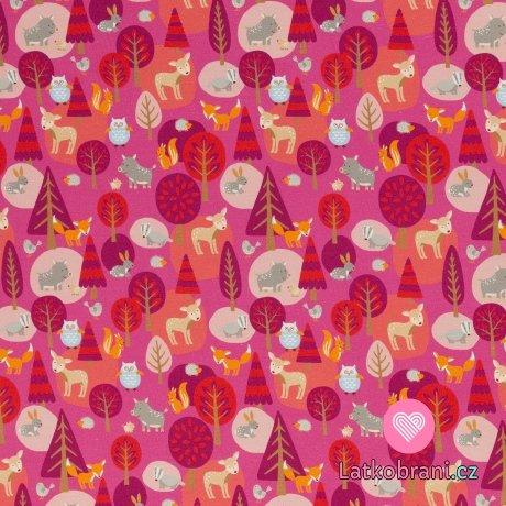 Teplákovina potisk lesní zvířátka na růžové, lehce počesaná