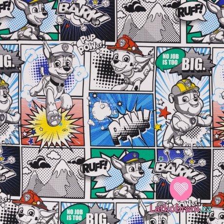 Teplákovina potisk Tlapková patrola v komiksu, lehce počesaná