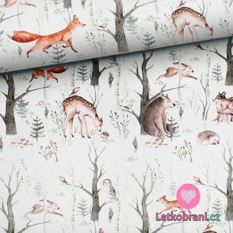 Bavlněné plátno roztomilá zvířátka v lese