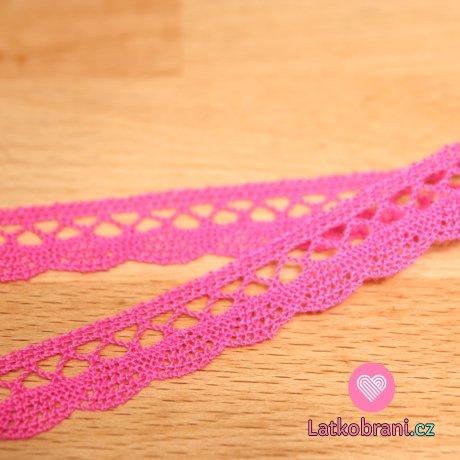Krajka paličkovaná růžová pink