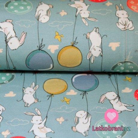 Teplákovina králící s balónky na modro-šedé