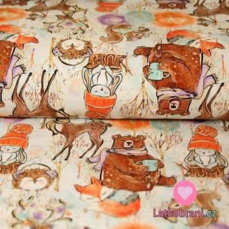 Teplákovina medvěd v šále, králík na pařezu