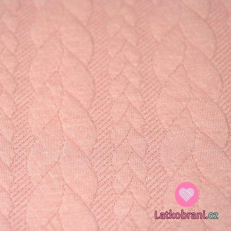 Pletenina copánky růžové s nádechem do starorůžové