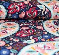 Teplákovina POČESANÁ ornamenty s květy na tmavě modré