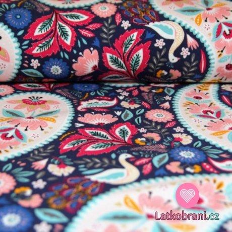 Teplákovina POČESANÁ ornamenty s květy na tmavě modré -ZBYTEK