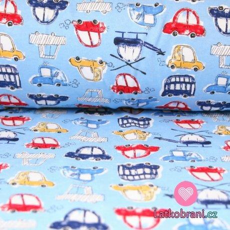 Bavlněný úplet autíčka červené, žluté na modré