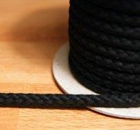 Šňůra kulatá oděvní BAVLNA 9 mm černá