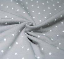 Teplákovina bílé puntíky na šedé