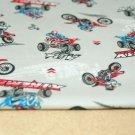 Bavlněný úplet červený motokros na šedé