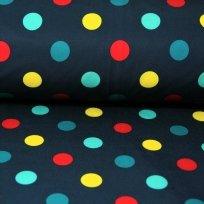 Softshell barevné puntíky na tmavě modré