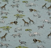 Úplet potisk safari zvířátka na světle modré