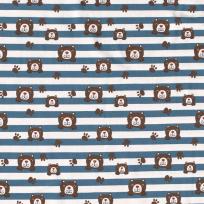 Úplet vykukující medvídci na indigově modro - bílých pruzích