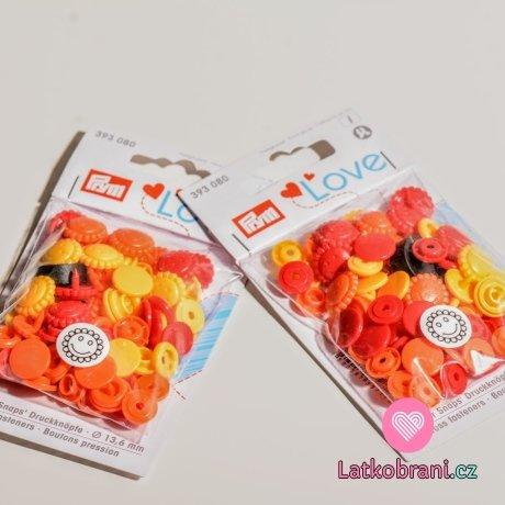 Patentky plastové Color snaps PRYM LOVE - květinky žlutočervené