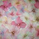 Teplákovina potisk růžovobílá kvítka hortenzie