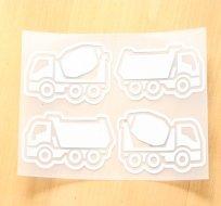 Reflexní nažehlovačka náklaďák (2ks), míchačka (2ks