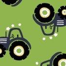 Úplet potisk modré traktory na zelené