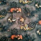 Teplákovina potisk draci na černém podkladu s ornamenty