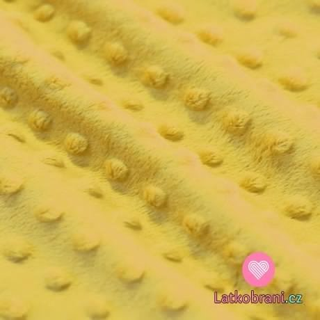 Minky fleece - bublinky hořčicová