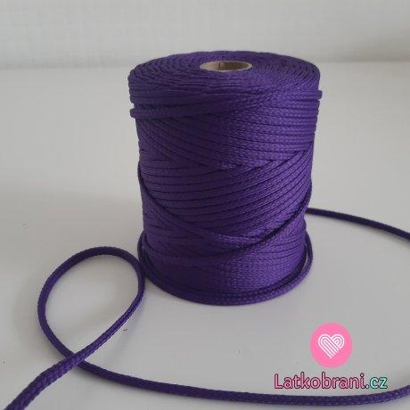 Šňůra oděvní kulatá  PES 4 mm sytě fialová