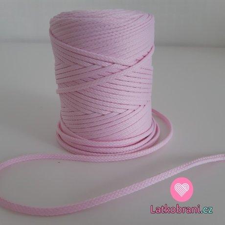 Šňůra oděvní kulatá  PES 4 mm ledově růžová
