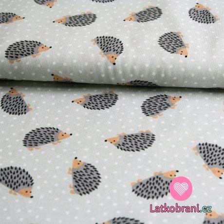 Úplet ježečci s puntíky na šedé