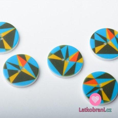 Knoflík kulatý, geometrické tvary tyrkysový