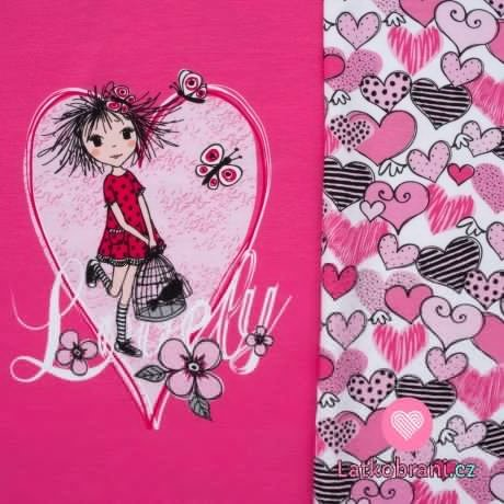 Úplet panel potisk rozcuchaná holka na růžové