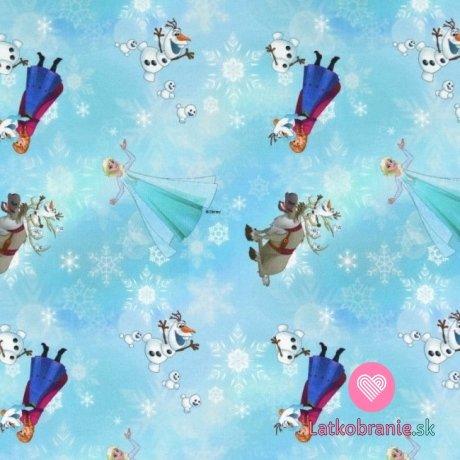 Úplet potisk Ledové království s vločkami na modré